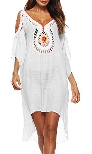 KIRALOVE Encubrimientos Mujer mar - Pareo - niña - Trajes de baño - Playa - Piscina - túnica - Vestido - Indio - Decorado