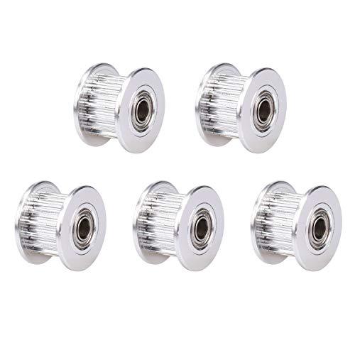 Winsinn 2GT GT2 Zahnriemen-Spannrolle, aus Aluminium, zahnlos, 16 Zähne, 3 mm Bohrung für 3D-Drucker, 6 mm breite Zahnriemen, 6MM - 16T - 3mm Bore, mit Zahn, 5