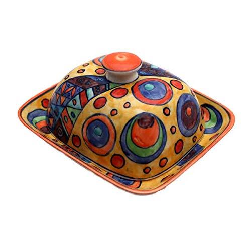 Gall&Zick Butterdose mit Deckel Keramik Bunt Handbemalt (Ronda)