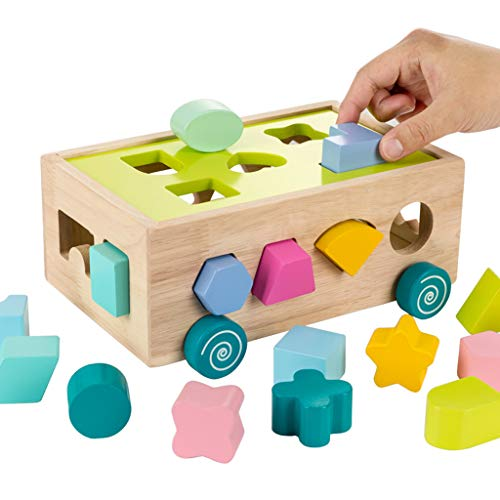 Block Toy Auto Houten Bouwstenen Games Geometrische Vormen Puzzel Handige Storage Hand-Oog Coördinatie Educatief Spel Voor Kinderen Peuters