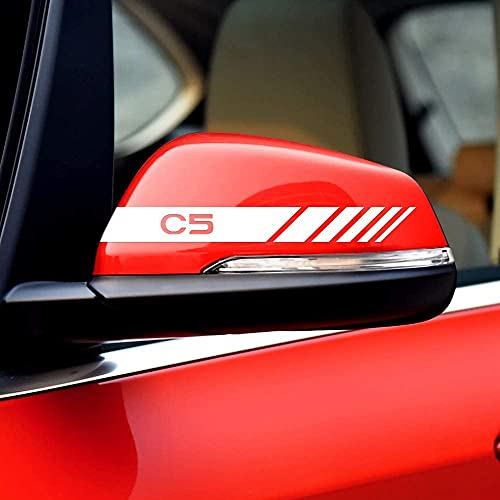 2 Piezas Pegatinas Espejo Retrovisor, para Citroen C5 Auto Styling Coche Espejo Retrovisor Juego Pegatinas Rayas Estilo Pegatina