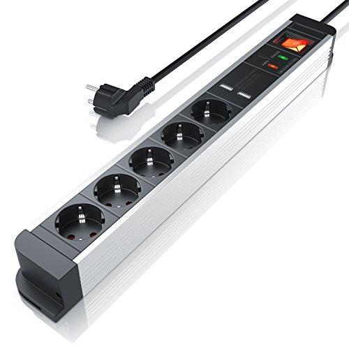 Steckdosenleiste 5 Fach mit 2 USB Ladeports Aluminium Mehrfachsteckdose für Wandmontage Steckerleiste mit integriertem erhöhtem Berührungsschutz und An Aus Schalter Mehrfachstecker für Steckdose