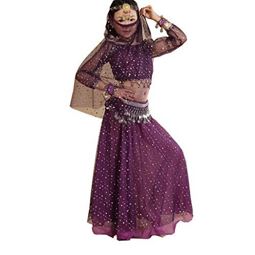 Vestidos de Baile de Ballet Traje de Danza del Vientre for niña Vestido de espectáculo de Danza Traje Indio Traje de Danza del Vientre ( Color : Purple , Size : Large Size (130 cm - 150) )