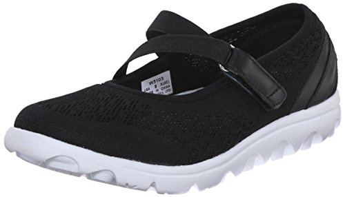 Propet Women's TravelActiv Mary Jane Flat, Black, 8 Wide