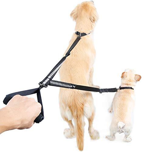 Doppelleine für 2 Hunde, ausziehbare und verstellbare Leine von 88 cm bis 120 cm mit weichem Griff, elastische Leine gegen plötzliche Stöße