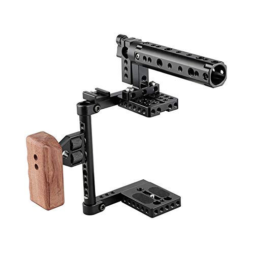 DSLR Camera Kooi Top Handvat Houten Grip, Universele Verstelbare Camera kooi, Fit voor Rechts Handvat en Links Handvat Camera, voor Canon Nikon Sony Panasonic