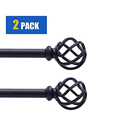 """QITERI Curtain Rod Black 2 Pack for windows with Twisting Cage Finials, 3/4"""" Adjustable Single Window Rod 38""""-72"""" with Twisting Cage Finials,Black Drapery Rod of Window Treatment,2 Pack"""
