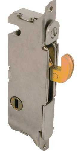 Prime-Line E 2013 Mortise Lock - Adjustable, Spring-Loaded Hook Latch Projection for Sliding Patio Doors Constructed of Wood, Aluminum and Vinyl, 3-11/16