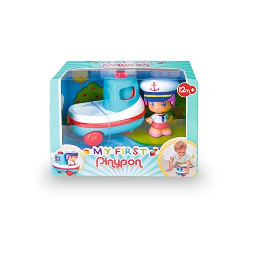 Pinypon - My First, Happy Vehículos Barco, Mis primeros transportes, barco de juguete con ruedas, flota en la bañera, y una minifigura de capitán con caras de distintas emociones, FAMOSA (700016384)