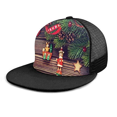 Gorra de béisbol de madera rústica de estilo antiguo de Noel Time Gorra de béisbol unisex, gorra plana de estilo hip-hop, color negro
