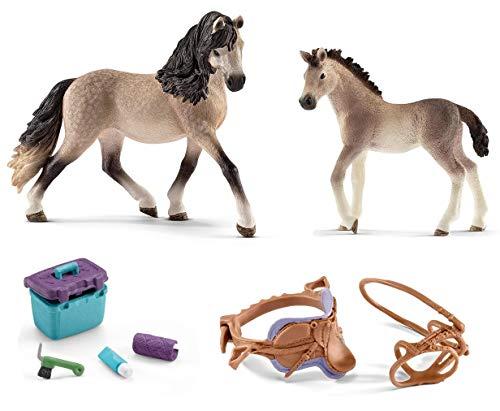 4in1-SET Schleich Pferde Horse Club - Andalusier Stute mit Fohlen + Sattel Zaumzeug und Pflegeset 13793 + 13822 + 42165 + 42366