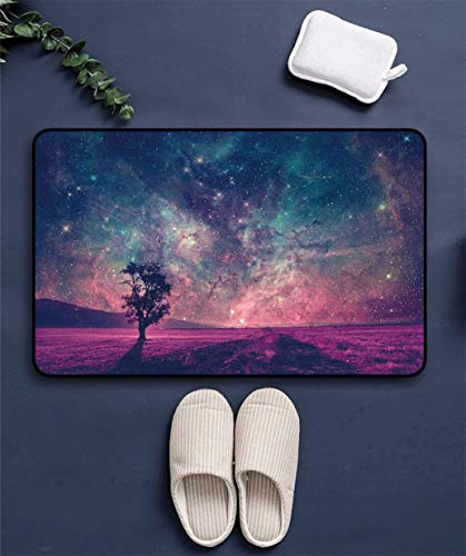 Fabuyale Space Decor Door Floor Mat, Red Alien Landscape with Alone Tree Silhouette in Purple Field Photo Low-Profile Indoor Entrance Rugs Carpets, 31' x 47'