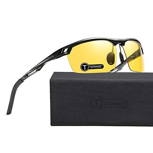 TERAISE Nachtsichtbrille für das Fahren von Sportsonnenbrillen für Herren Polarisierter Metallrahmen mit Blendschutz und verstärkten Scharnieren
