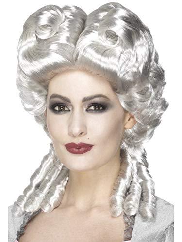 e Halloweenia - Damen Marie Antoinette Deluxe Perücke im Barock Stil Weiß-Blond, Kostüm Accessoires Zubehör, perfekt für Halloween Karneval und Fasching, Weiß