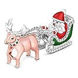 GNOCE Charm Babbo Natale in Agento S925'Buon Natale' Charm Bead per Bracciali e Collana Regalo di Natale per Famiglia Moglie Figlia Amico