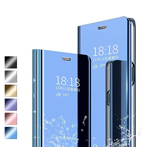 Jierich Funda para Xiaomi Mi 11 Lite 5G/4G Carcasa, Ultra Slim Espejo Funda Flip Inteligente, Soporte Plegable, [Anti-Rasguños] Case Cover para Xiaomi Mi 11 Lite 5G/4G-Azul