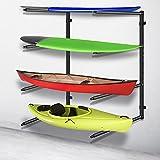 VEVOR Kayak Storage Kayak Wall Rack, Heavy-duty Kayak Hooks, 400 LBS Load-Bearing Capacity Kayak Hanger for Indoor Use, 100 LBS Per Layer Paddle Board Rack, 4 Layers Kayak Storage Rack for 4 Canoes Pa
