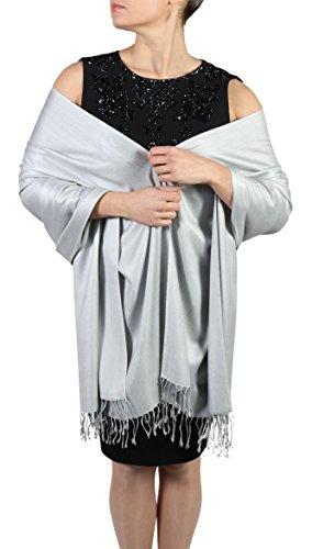 Pashmina bufanda femenina- Acabado de borlas - Percha gratuita – Más de 20 colores - Hecho de mano (Plateado)
