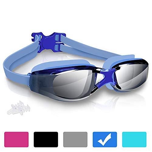 arteesol Schwimmbrille, Anti Fog Schwimmbrille Kristallklare 180 ° Panoramasicht Verspiegelt mit 100{560de4ebb053995cb6a8616bd6e4bf0ee41e9d9304da8defe159b624683cbe22} UV-Schutzbeschichtung mit Schutzhülle und Ohrstöpsel für Erwachsene und Kinder (Blau)