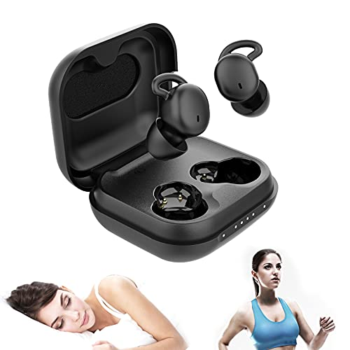 WEDOKING Bluetooth Sleep Headphones Mini True Wireless Bluetooth 5.0 Sleeping Earbuds,Invisible Earphones with Portable,Charger,Wireless Sleep Headsets Side Sleeper (Black)