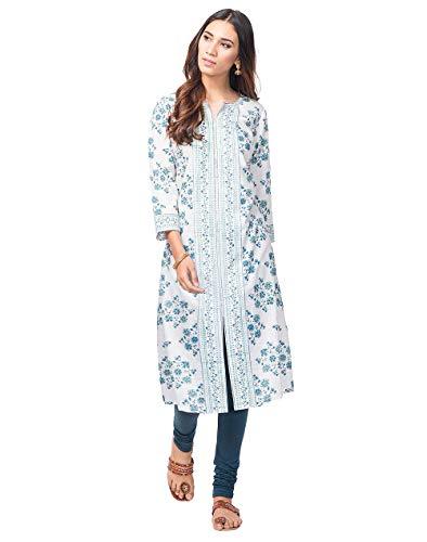 Fabindia Women's cotton a-line Kurta (10528087_ Blue_ Small)
