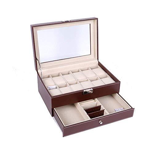 GONGFF Caja de reloj con diseño de doble piso, 12 cajas de reloj, vitrina con llave y cerradura con joyas de piel sintética para hombres y mujeres (color negro, tamaño: talla única)