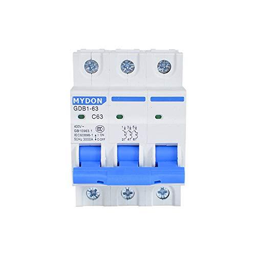 SUNER-EUR Interruptor de Aire, disyuntor Miniatura doméstico de Marca GDB1-63, Protector de sobrecarga de Cortocircuito de Fuga 3P 3P 63A