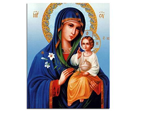 Con marco Pintura al óleo Virgen María Jesús Arte de la pared Icono ortodoxo Religi Pintura al óleo por números Lienzo Pintura modular DIY 40x50cm