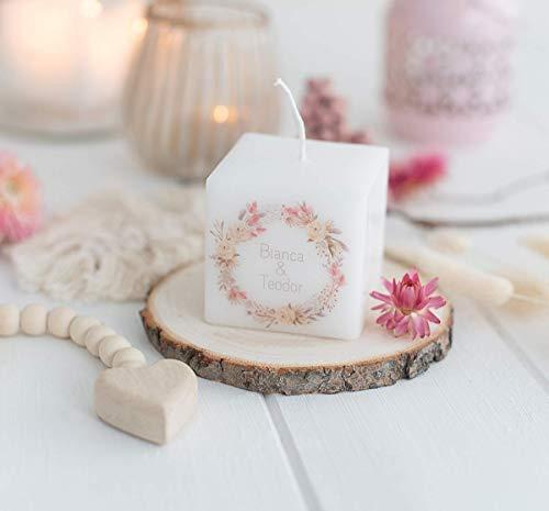 3 STÜCK personalisierte Kerze - Gastgeschenk zur Hochzeit - Hochzeitsgeschenke für Gäste - KERZE mit Namen- Trockenblumenkranz