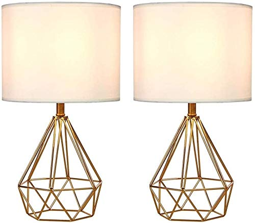 Lámparas de leer la tabla Conjunto de 2 Metal ahuecado Base de la lámpara moderna con tela blanca sombra de noche lámpara de escritorio de la sala de estar, oficina, 16' lámpara de escritorio (juego d