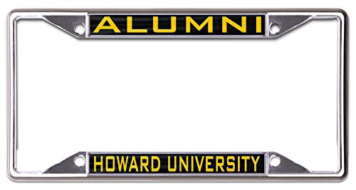 WinCraft Howard University Alumni Premium License Plate Frame, 4 Hole, Metal with Hand Inlaid Acrylic