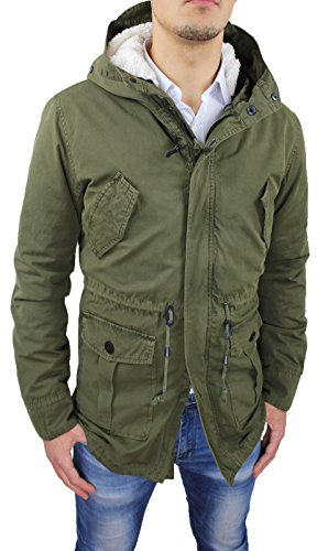 cappotto uomo invernale Giaccone Uomo Parka Verde Militare Casual Invernale Giacca Cappotto con Pelliccia Interna (XL
