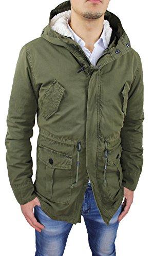 Mat Sartoriale Giaccone Uomo Parka Verde Militare Invernale Casual Giacca Cappotto con Pelliccia (S, Verde Militare)