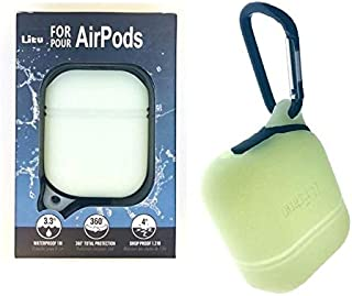 Litu Carying Case for Apple Air Pods, Red, White Glow on the Dark