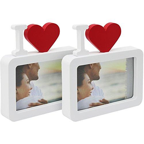 com-four® 2X Bilderrahmen I Love - Fotorahmen mit Herz - romantischer Kunststoffrahmen für Ihre Lieblingsbilder (02 Stück - Love)