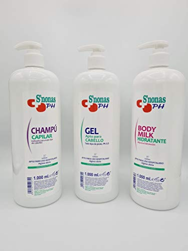 PACK FAMILIAR S´NONAS:Gel de ducha PH 1000 ml. + Champu 1000 ml. Body milk 1000 ml.