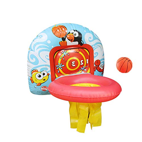 Hearthrousy Juego de canasta de baloncesto inflable para niños, canasta de baloncesto, pelota de baloncesto, juguete infantil, soporte de baloncesto, para colgar en interiores, juguete deportivo