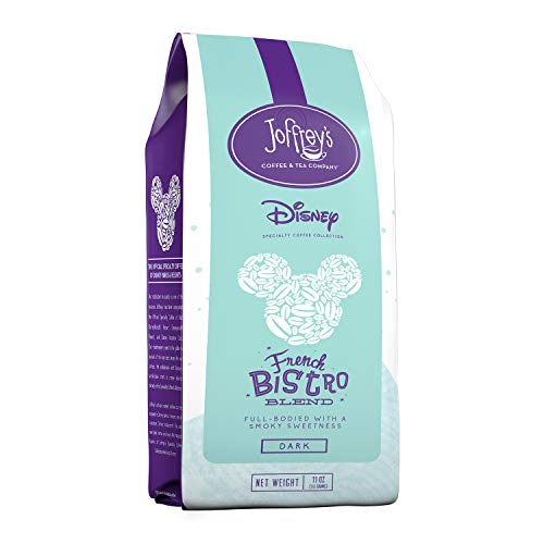 Joffrey's Coffee - French Bistro Blend, Disney Specialty Coffee Collection, Artisan Dark Roast Coffee, Arabica Coffee Beans, Full-Bodied with Smoky Sweetness, Brew or French Press (Ground, 11 oz)