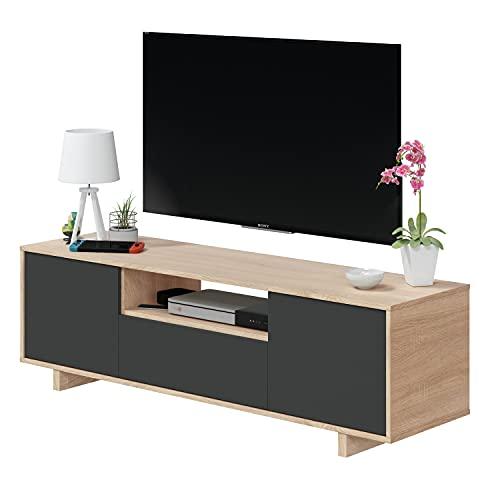 Modulo TV, Mueble de Salon, Juego de Muebles, Modelo Zaira, Acabado en Roble Canadian y Gris Antracita, Medidas: 150 cm (Ancho) x 46 cm (Alto) 41 cm (Fondo)
