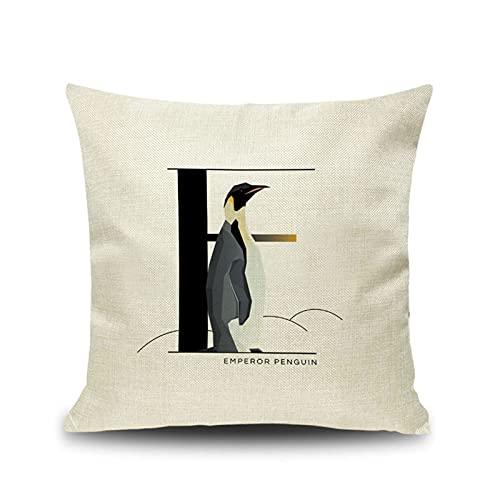 KnBoB Funda Almohada 50x50 cm Cuadrado Negro Blanco Letra E Tela de Lino Decora Sofa Silla Cama - Estilo 5