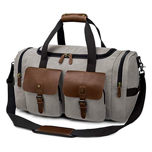 TAK Borsone da viaggio retro Weekend bag palestra Uomo Donna vintage borson fitness sportiva vintage Duffle bag vano per scarpe travel 40L gris
