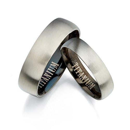 Gemini novio novia 2tono negro y plata cepillo polaco titanio anillos de boda 7mm 5mm Hombres Sz 15,5San Valentín