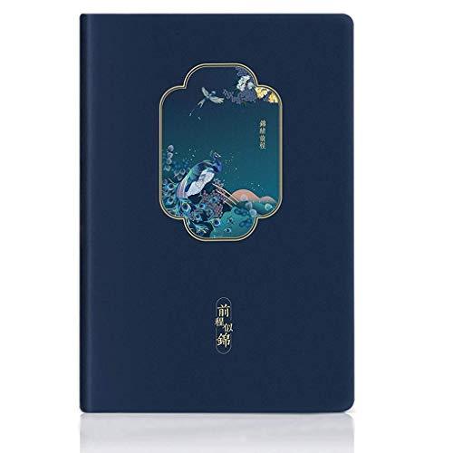 Zixin Notebook Tapa Dura, Libro de Cuero de imitación, el Futuro espléndido Cuenta Mano Retro, Papel Grueso Papel gobernado + Punto de cuadrícula, 120sheet 8.2'x5.6