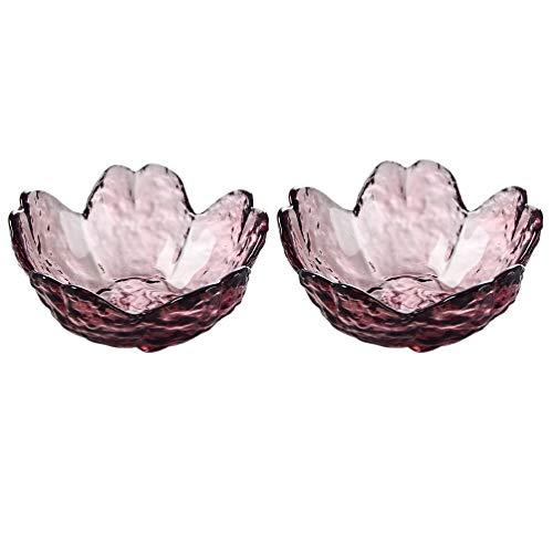 UPKOCH 2 cuencos de cristal para salsas, flores de cerezo japonesas, pequeños cuencos para servir, especias, salsas, aperitivos, especias, nueces