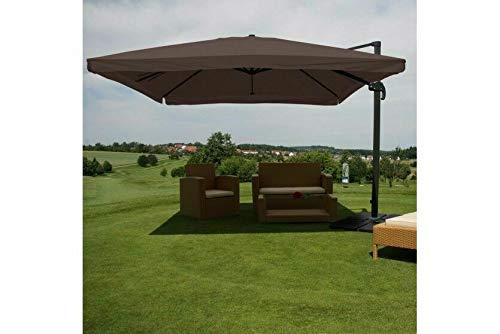 Sonnenschirm braun Alu 3x3m Gastro Ampelschirm Marktschirm mit Ständer
