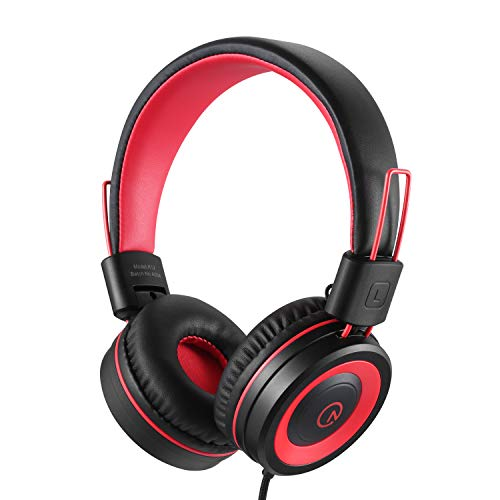 Kids Headphones-Noot Products K12 Foldable Stereo Tangle-Free 5ft Long cord 3.5mm Jack Plug in Wired On-Ear Headset for iPad/Amazon Kindle,Fire/Boys/Girls/School/Laptop/Travel/Plane/Tablet (Red Black)
