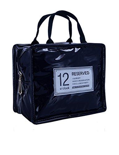 ISuperb Borsa Termica Adulto Porta Pranzo Lunch Bag Con Cerniera Per Donna,Uomo E Ufficio 22X13X18.5Cm (Blu Scuro)