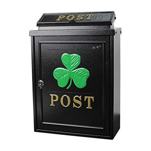 JIAHE115 Inductie-afvalemmer waterdichte roestvrijstalen Mailbox Mailbox mailbox in de openlucht krant kast met vergrendelbare waterdicht, zwart huishouden decoratieve opslag Bukken