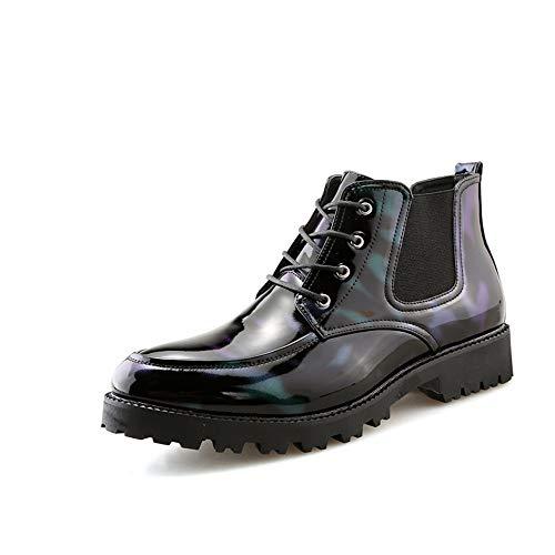 Jingkeke Oxford-Stiefeletten für Herren Casual Klassischer Schnürschuh mit Laufsohle Lackleder High-Top-Dress Schuhe Ins Auge fallend Mode (Color : Atrovirens, Größe : 43 EU)