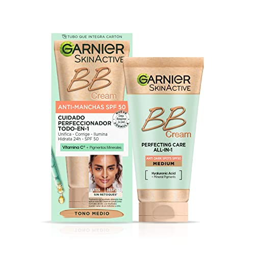 Garnier BB Cream Anti-Manchas Spf 50 Hidratante Todo en uno con color tono medio. Vitamina C, y Pigmentos Minerales, Hidrata, Unifica, Corrige e Ilumina-50ml